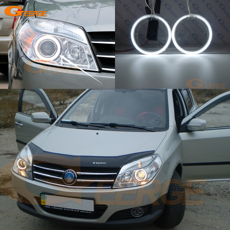 For Geely MK Cross 2010-2014 Headlight Excellent Angel Eyes Ultra Bright Illumination CCFL Angel Eyes Kit Halo Ring