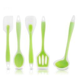 Przezroczysty silikon zestaw naczyń kuchennych 5 sztuk non-stick Pan narzędzia kuchenne kadzi szpatułki łyżka szpatułka z otworami naczynia kuchenne
