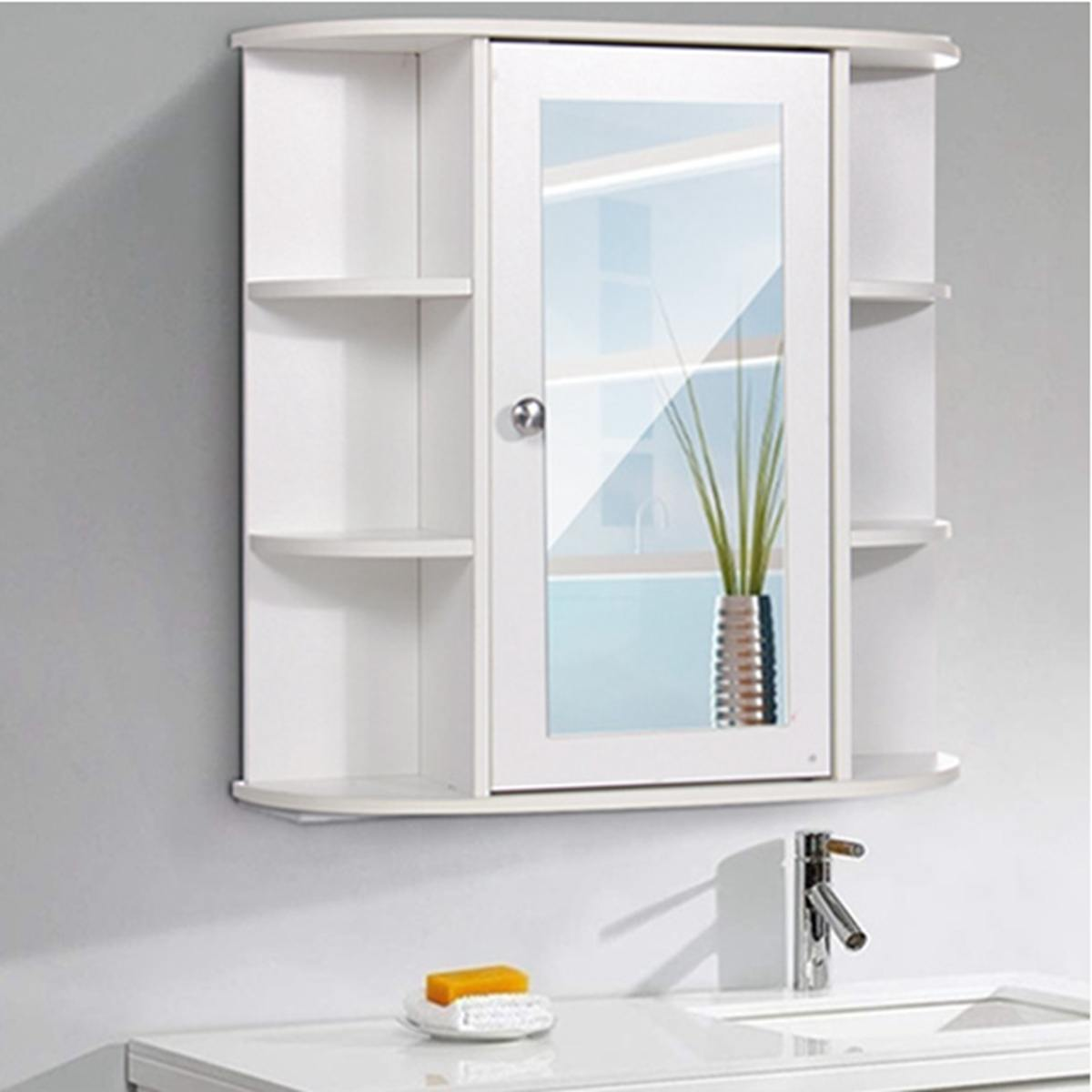 Bathroom Cabinet with Mirror 58x60x16.5cm Home Wall Mounted Bathroom Toilet Furniture Cabinet Cupboard Shelf Cosmetic Storager