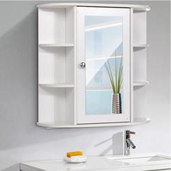 Badkamermeubel Met Spiegel 58X60X16.5Cm Thuis Wandmontage Badkamer Wc Meubels Kast Kast Plank Cosmetische storager