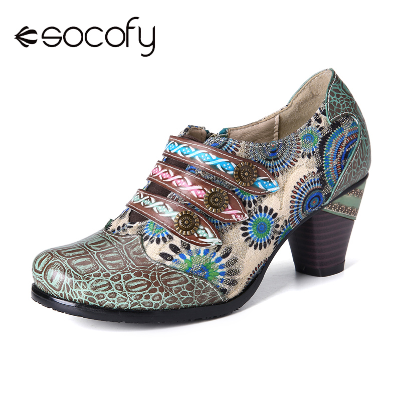 SOCOFY Retro Stitching Flower Genuine Leather Block Heel Zipper Slip On Pumps  Elegant Shoes Women Shoes Botas Mujer 2020