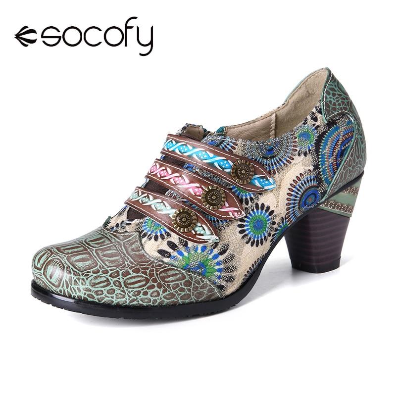 SOCOFY Retro Stitching Flower Genuine Leather Block Heel Zipper Slip On Pumps  Elegant Shoes Women Shoes Botas Mujer 2020