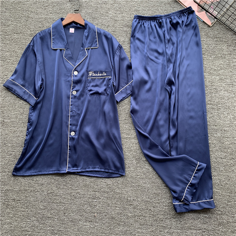 Men Pajamas Set Satin Short Sleeve Elegant Navy Blue 2pcs Sleepwear Print Homewear Casual Home Clothing Soft Satin Nightwear