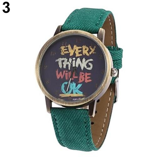 Creative Men's Women's Watch Every Thing Will Be Ok Denim Band Analog Quartz Dress Couple Wrist Watch Relojes Para Hombre