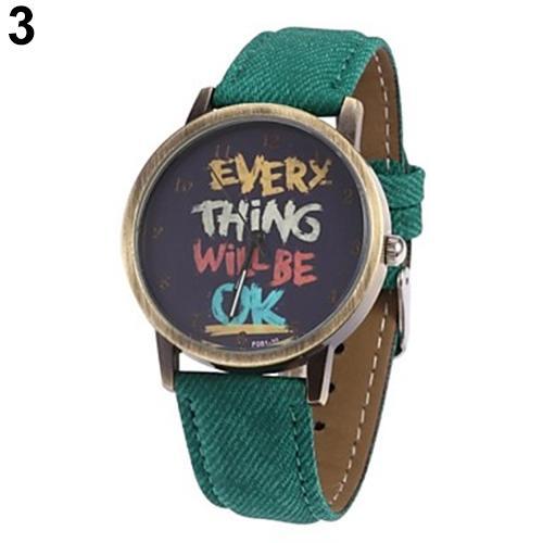 Creative Men's Women's Watch Every Thing Will Be Ok Denim Band Analog Quartz Dress Couple Wrist Watch Relojes Para Hombre