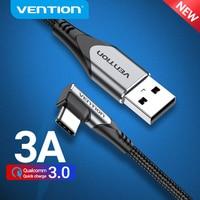 Cavo USB tipo C Vention cavo dati caricabatterie rapido da 90 gradi 3A per Samsung S8 S9 cavo di ricarica tipo C per telefono cellulare ad angolo retto