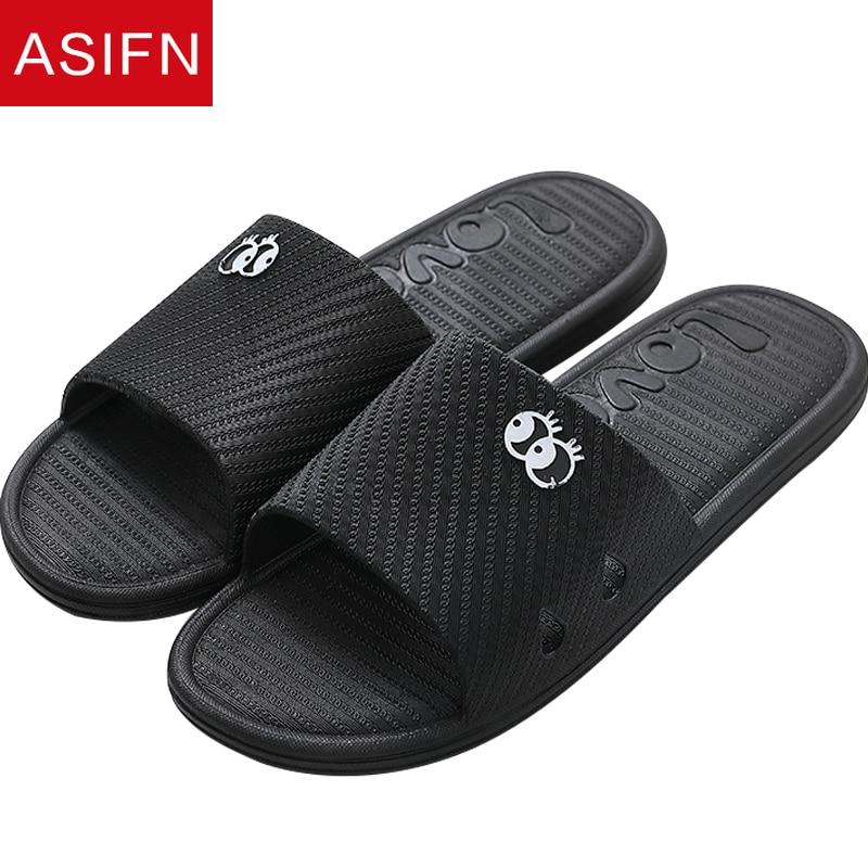 ASIFN Slippers Men's Slides Summer Bathroom Home Household Bath Non-slip Quick-drying Soft Bottom Flip Flops Zapatos De Hombre