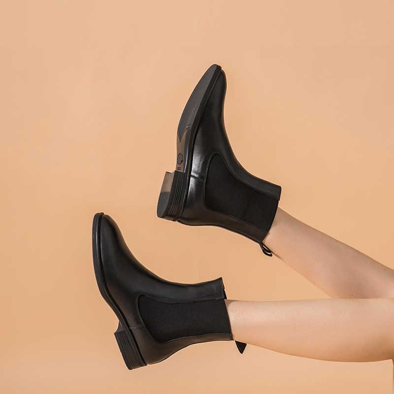 BeauToday Giày Chelsea Boot Nữ Thương Hiệu Chính Hãng Da Bê Mũi Tròn Mắt Cá Chân Bootie Thu Đông Giày Làm Bằng Tay 03608