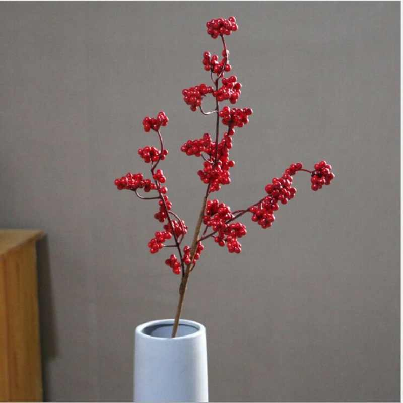 Berry Euonymus takje Kerst en Spring Festival decoraties Rijke fruit Holly kunstbloem
