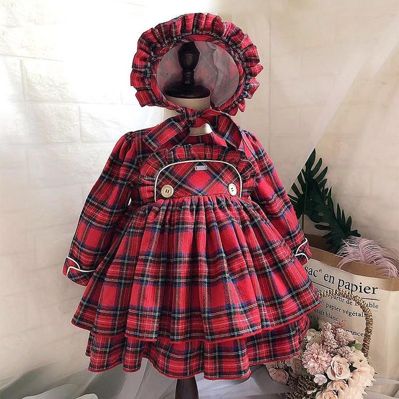 Angleterre filles robes automne et hiver robe 3 pièces grille rouge espagnol enfants fille vêtements à manches longues pour automne hiver noël