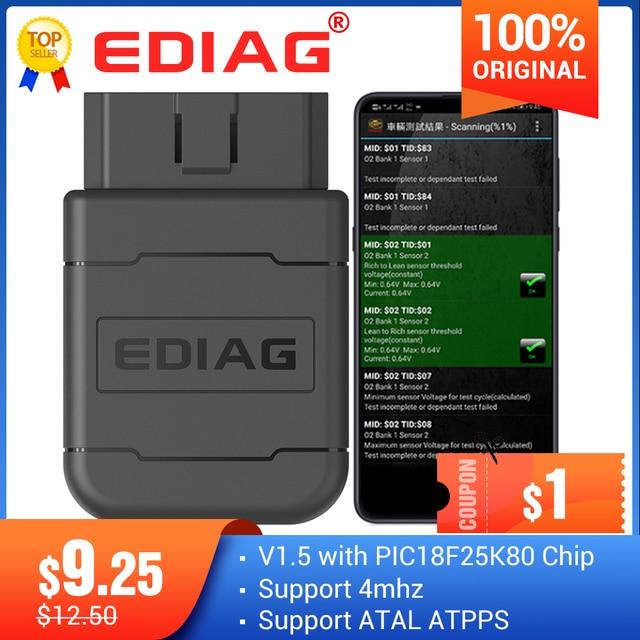 قارئ كود Ediag P01 ELM327, Ediag P01 ELM327 بلوتوث V1.5 PIC1825K80 P02 واي فاي OBD2 موصل لنظام أندرويد/IOS قارئ رمز عزم الدوران الماسح الضوئي
