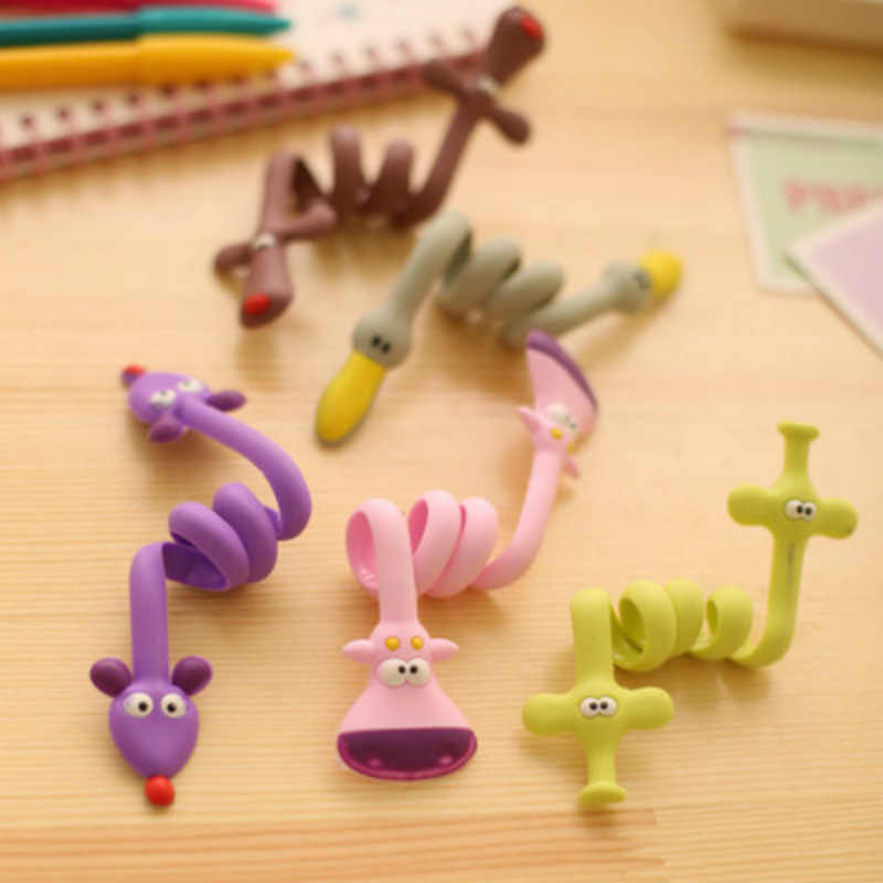 Kawaii Cartoon Tier Kabel Wickler Gewundenen Linie Daten Kabel Draht Lagerung Organizer Linie Fixer Halter 1PC