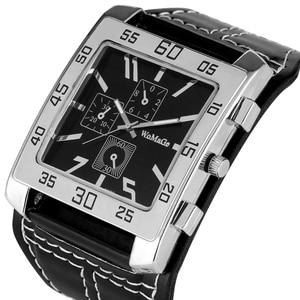 Reloj de pulsera con esfera cuadrada para hombre, reloj Masculino de pulsera de cuero, estilo gótico, Punk y Rock