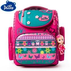 Delune Brand Orthopedic School Bag Bear Pattern Children School Backpacks For Girls Boys Cartoon Backpack Book Mochila Escolar