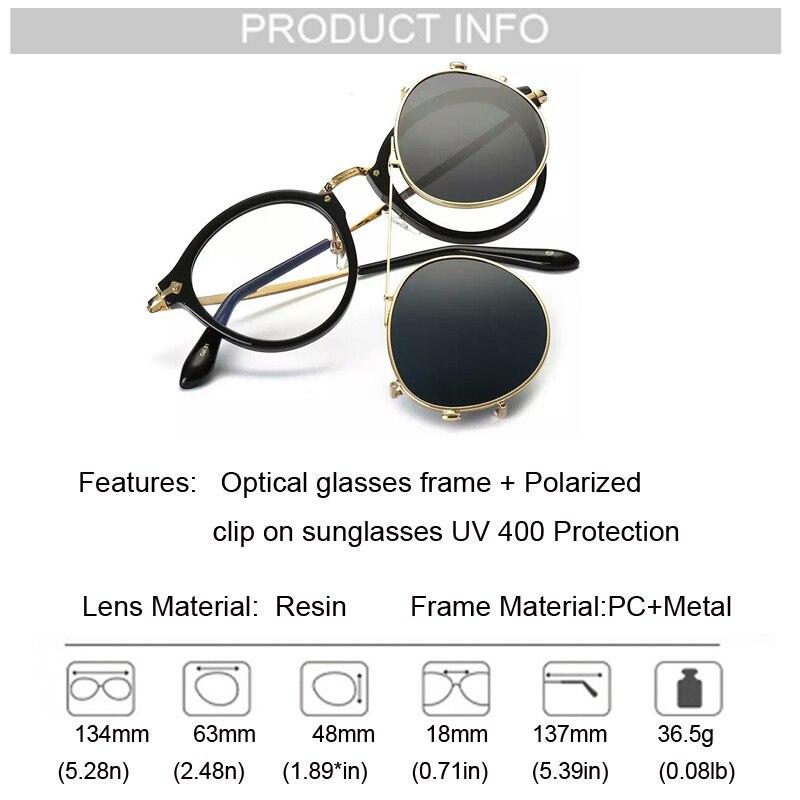 Image 5 - Fashion Round Glasses Clear Frame Women Spectacle Myopia Men EyeGlasses Optical Frames With Vintage Clip On Polarized SunglassesWomens Sunglasses   -