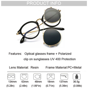 Image 5 - Fashion Round Glasses Clear Frame Women Spectacle Myopia Men EyeGlasses Optical Frames With Vintage Clip On Polarized Sunglasses