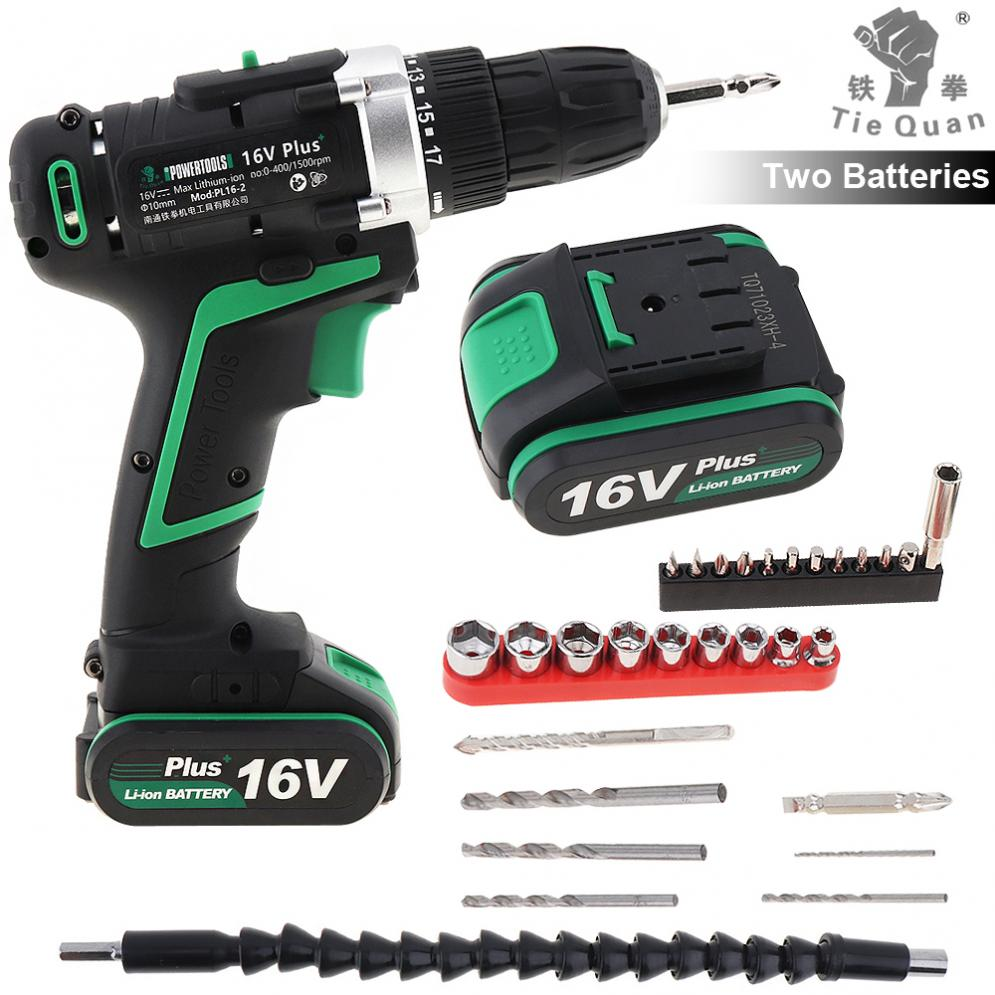 100 - 240V Cordless <font><b>16V</b></font> Plus Electric Drill with 2 Lithium <font><b>Batteries</b></font> and 29pcs Accessories Set for Handling Screws/Punching image