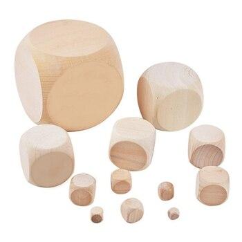 Juego de dados de entretenimiento en madera 10 Uds., dados en blanco para DIY, impresión, grabado, Chico, juguetes de 10mm 12mm 14mm 16mm 18mm 20mm dado