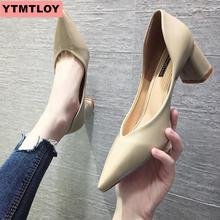 Women's high heels 2019 spring and autumn new thick with pointed shallow mouth high heels women's shoes sexy wedding shoes