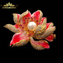 Dream Fancy Style Enameled Petal Micro Pave CZ Pink Lotus Flower Brooches Gold Tone Centered Mother of Pearl Blossom Lotus Pins