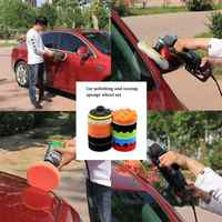 Car Cleaning Sponge 4 Inch Car Polishing Waxing Sponge Portable Car Self-Adhesive Polishing Waxing Sponge Set