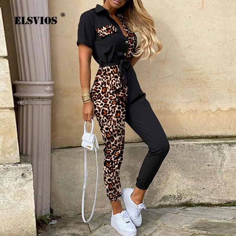Women Summer Deep V Neck Short Sleeve Overalls Leopard Patchwork Button Shirt Jumpsuit Elegant Office Lady One Piece Romper Belt
