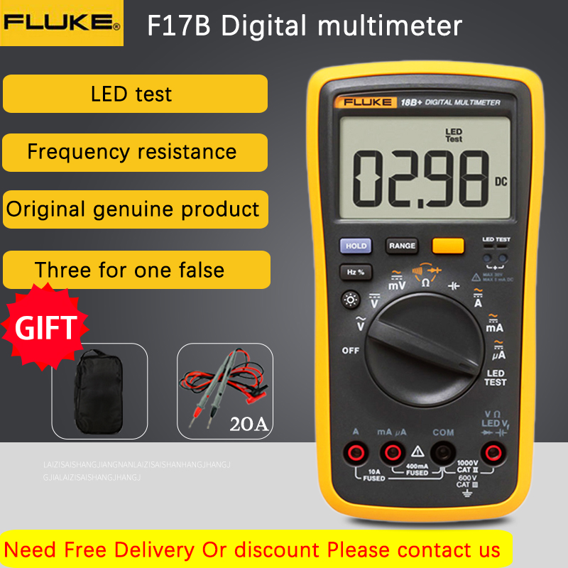 Fluke 18B + светодиодный тестер переменного/постоянного напряжения и тока цифровой мультиметр Цифровой тестер напряжения Измеритель сопротивл...