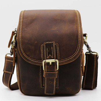 Handmade Founctional Men Waist Belt Bag Crazy Horse Genuine Leather Men's Small Crossbody Shoulder Bag Mobile Phone Wallet Pack