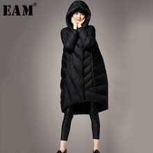 [EAM] Loose Fit Black Big Size Down Jacket New Hooded Long Sleeve Warm Women Parkas Fashion Tide Autumn Winter 2019 1B815(China)