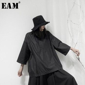[EAM] Donne Nero Split Big Size Camicetta Nuovo Risvolto Tre-quarti Di Manica Loose Fit Camicia Di Modo Di Marea Primavera Autunno 2020 19A-a699