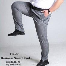 Мужские брюки больших размеров, повседневные брюки, серые, черные, темно-синие эластичные прямые деловые мужские брюки, большие размеры 44, 46, 48, 50, 52, 140 кг