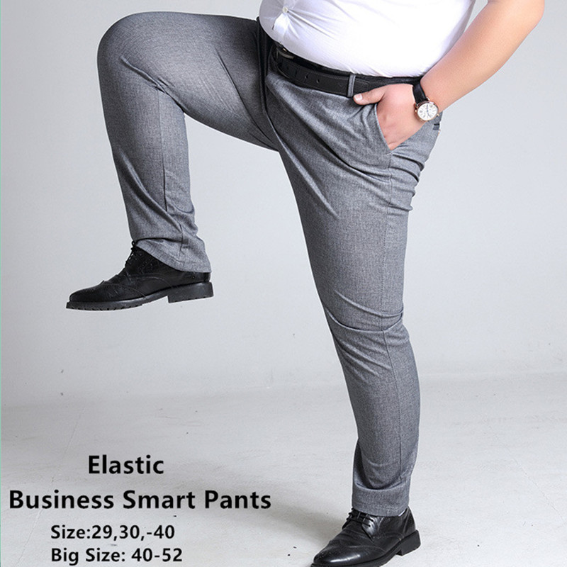 Plus Size Mens Trousers Casual Pants Grey Black Dark Blue Elastic Straight Business Men Big 44 46 48 50 52 140KG Trouser Pant