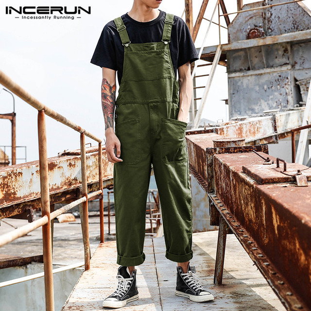 INCERUN Fashion Men Bib Pants Solid Color Jumpsuits Joggers Streetwear Casual Multi Pockets Suspenders Cargo Overalls Men Romper 2