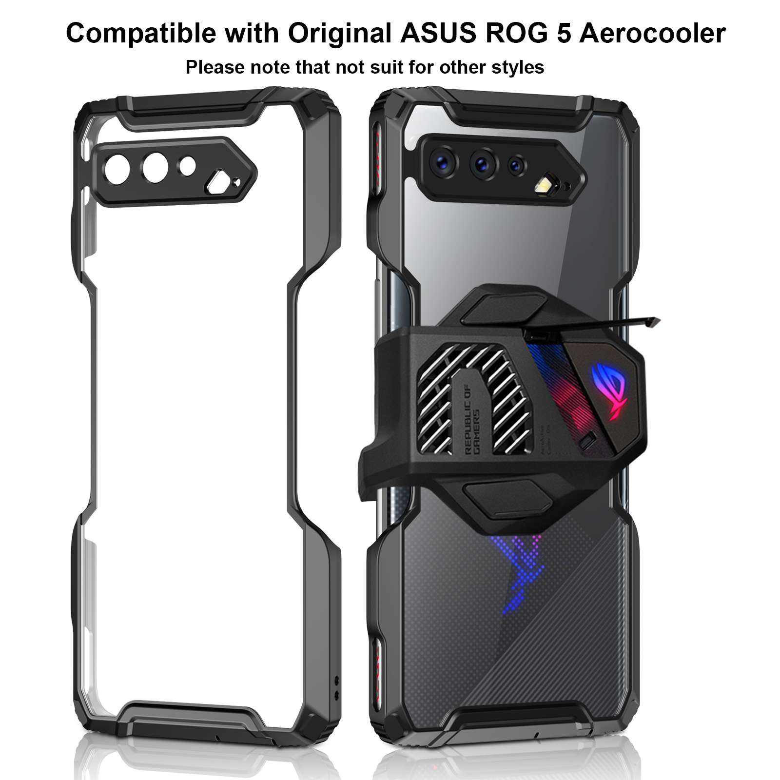 ZSHOW Case for ROG Phone 5 Armor Case Cooler Compatible Air Trigger Compatible TPU Frame and Clear Acrylic Back Drop Protection