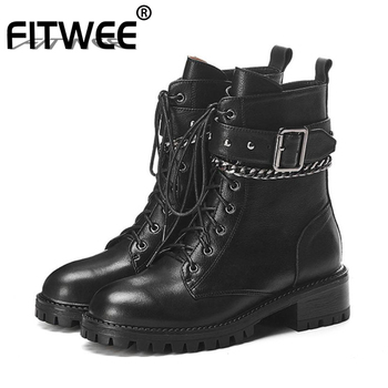 FITWEE Ankle Boots For Women Genuine Leather Flats Shoes Women Winter Lace Up Metal Chain Buckle Casual Footwear Size 34-42