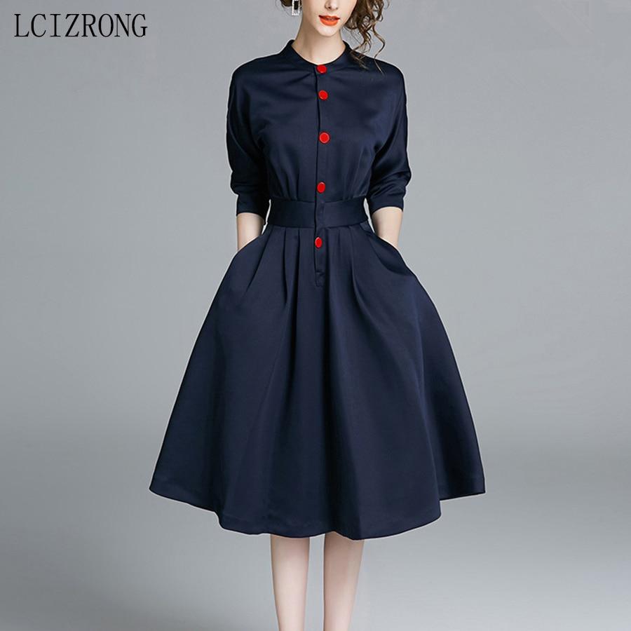 Mode coréenne une ligne robe femmes élégant bureau dames robe mi-longue automne 3XL grande taille Slim trois quarts manches robes femme