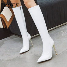 Women Sexy Thin High Heel Shoes Fashion Patent Leather Pointed Toe Red White Black Knee-high Boots Autumn Winter New Footwear(China)