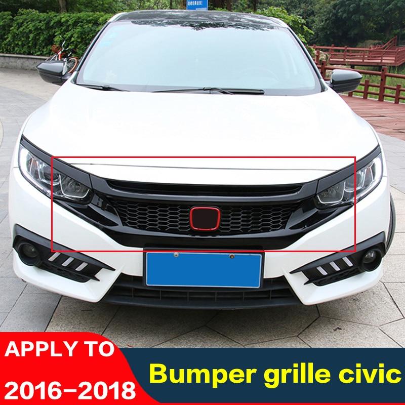For Honda Civic 2016-2018 Front Bumper Upper Trim Hood Bonnet Grill Lip Cover US