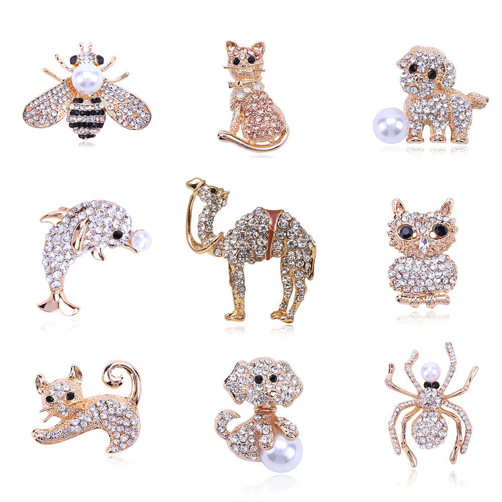 Classic Crystal Camel Cat Dog Bee Animal Rhinestone Brooch Pins Antique Gold Metal Scarf Pins Jewelry Gift Party Clothing Decors