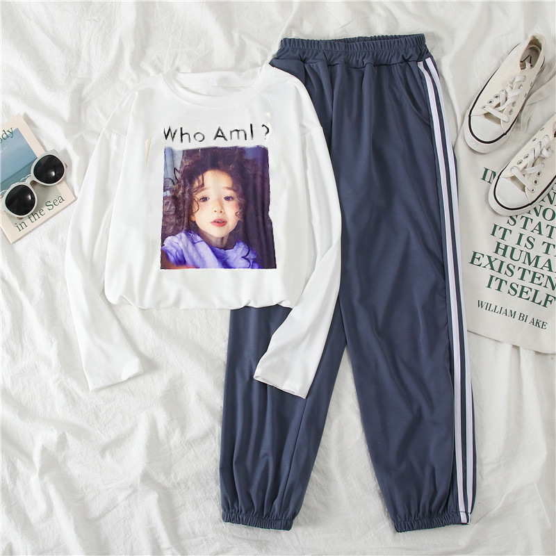2030 # [Photo Shoot] Autumn & Winter Casual Sports WOMEN'S Suit Two-Piece Set Long-sleeved T-shirt WOMEN'S Ninth Pants
