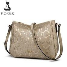 FOXER – sac à bandoulière en cuir de vache pour femmes, sacoche avec chaîne en relief, à la mode