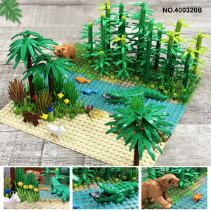 Image 5 - Kompatybilny wszystkie marki Rainforest Animal Grass Tree zestaw klocków z podstawą City MOC akcesoria części DIY cegły