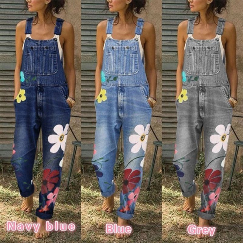 Women Denim Jumpsuit Overalls Sleeveless Strap  Floral Print Jeans Women Casual Loose Romper Women Suspenders Bodysuits