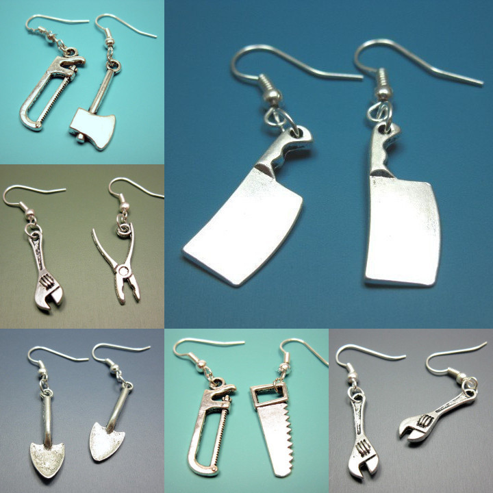 Holiday party gifts, home mini gadgets, hammers, saws, spades, kitchen knives, alternative creative novelty earrings, 200 pieces