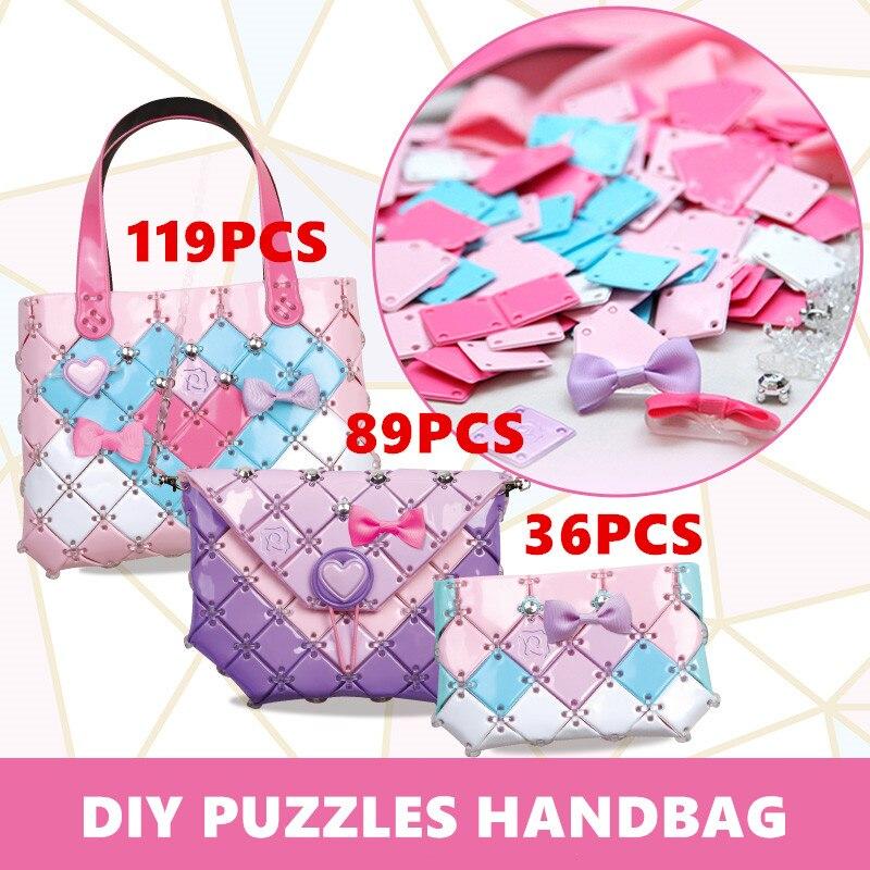 2020 New Chidlren Birthday Christmas Gifts Juguetes Sweet Fashion Craft Bag DIY Puzzles Handbag Educational Girls Toys for Kids