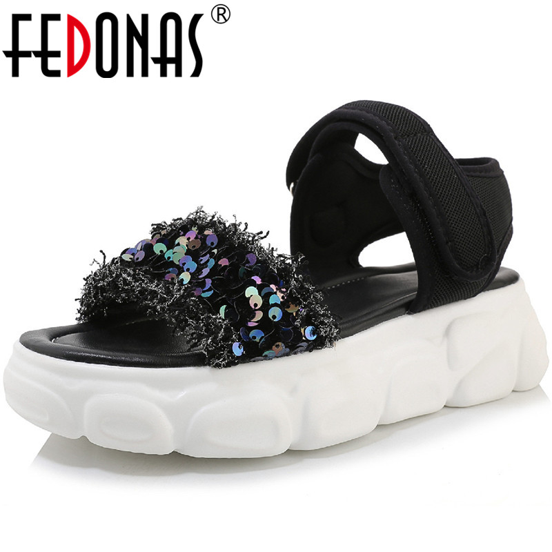 FEDONAS 2020 New Sequins Women Sandals Summer Platforms Flats Wedges Shoes Woman Buckle Casual Round Toe Glitters Shoes Woman