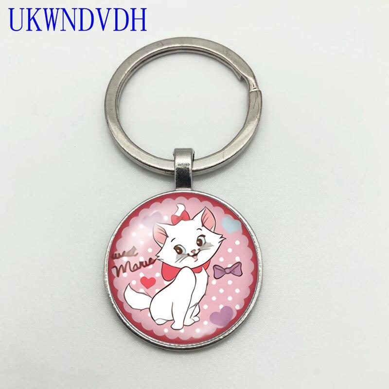 Bonito branco gato impertinente figura convexo redondo pingente de cristal ainda chaveiro amor bonito gatinho moda chaveiro pingente