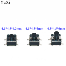 YuXi 4.5x4.5mm Panel PCB Momentary Tactile Tact Mini Push Button Switch SMT 4pin 4.5x4.5x4.3/5/6 MM 4.5*4.5*5MM 4.3MM 6MM h015 13 50pcs tactile tact push button micro switch momentary 6 6 6mm smd smt pcb 4 pins free shipping