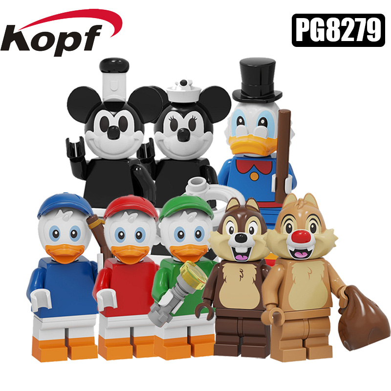 PG8279 Pumping Series Building Blocks Cartoon Model Black And Withe Mickey Daisy Scrooge Duck Mini Action Figure Toy