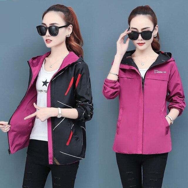 2020 printemps automne femmes veste mode à capuche deux côtés usure dessin animé impression Outwear femmes manteau ample femme coupe-vent hauts P369 6